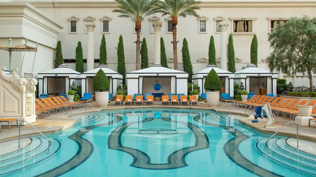 Caesars Palace Las Vegas Garden of the Gods Pool Oasis. Cabanas and chairs at the Jupiter pool.