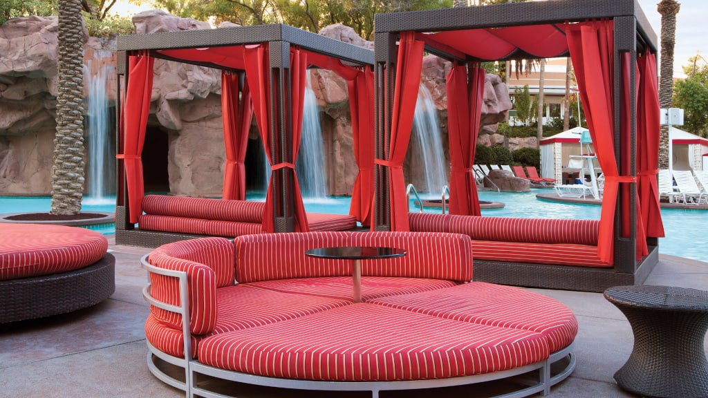 Flamingo pool loungers and daybeds.