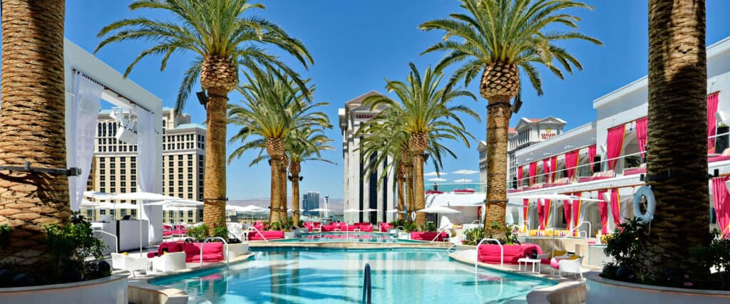 Cromwell Las Vegas Pool with 2 levels of cabanas flanking pool.